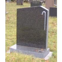 PJ13 - Off set peon in Dark grey granite shown here with a shepherds crook. Lawn Memorial, Headstone