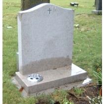 PJ05 - UK sourced all honed limestone memorial shows its colour when wet and dry with a simple hand carved lead filled cross.  Bespoke Headstones, Lawn Memorials