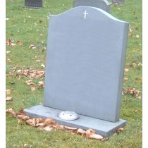 PJ24 - All honed Green slate headstone with a hand carved cross Enamelled white.  Slate Green, Bespoke, Headstones, Lawn Memorials