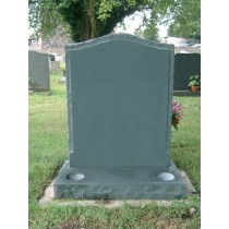 PJ35 - Evergreen rustic headstone with raised panel.  Slate Green, Bespoke, Headstones, Lawn Memorials