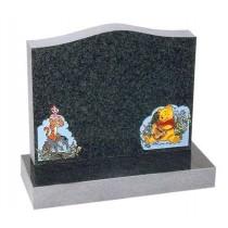 RL552 - Dark Grey Granite Lawn Memorial, Headstone.