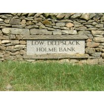Stone with Hand Cut Letters, engraved and painted Name Plate.
