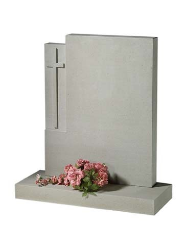 L64 - This larger blasted cross puts a modern twist on an old traditional shape unique in Granite or York sandstone, Lawn Memorial, Headstone