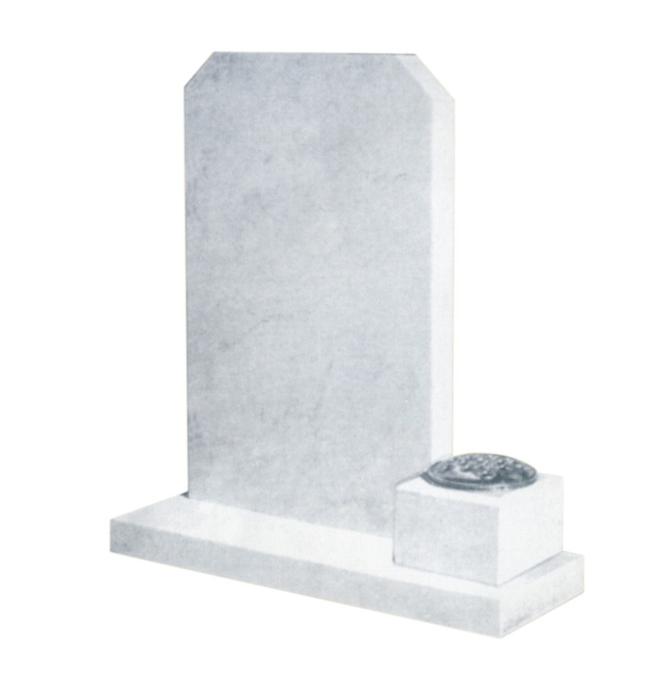 L68 - Carrera white marble memorial with a flower vase set to the right more room for inscription, Lawn Memorial, Headstone