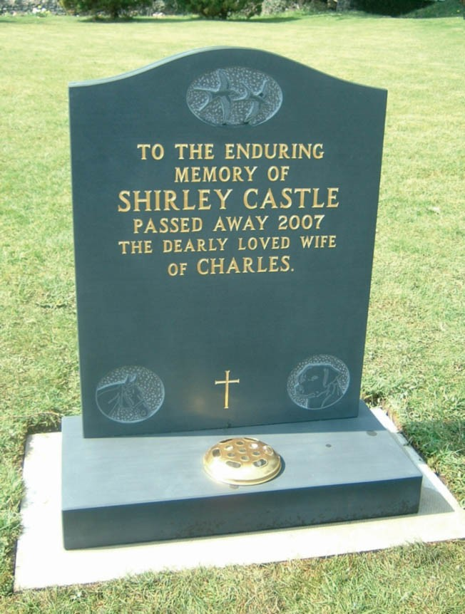 LM712 - Dark Blue Slate.  Bespoke Headstones, Lawn Memorials