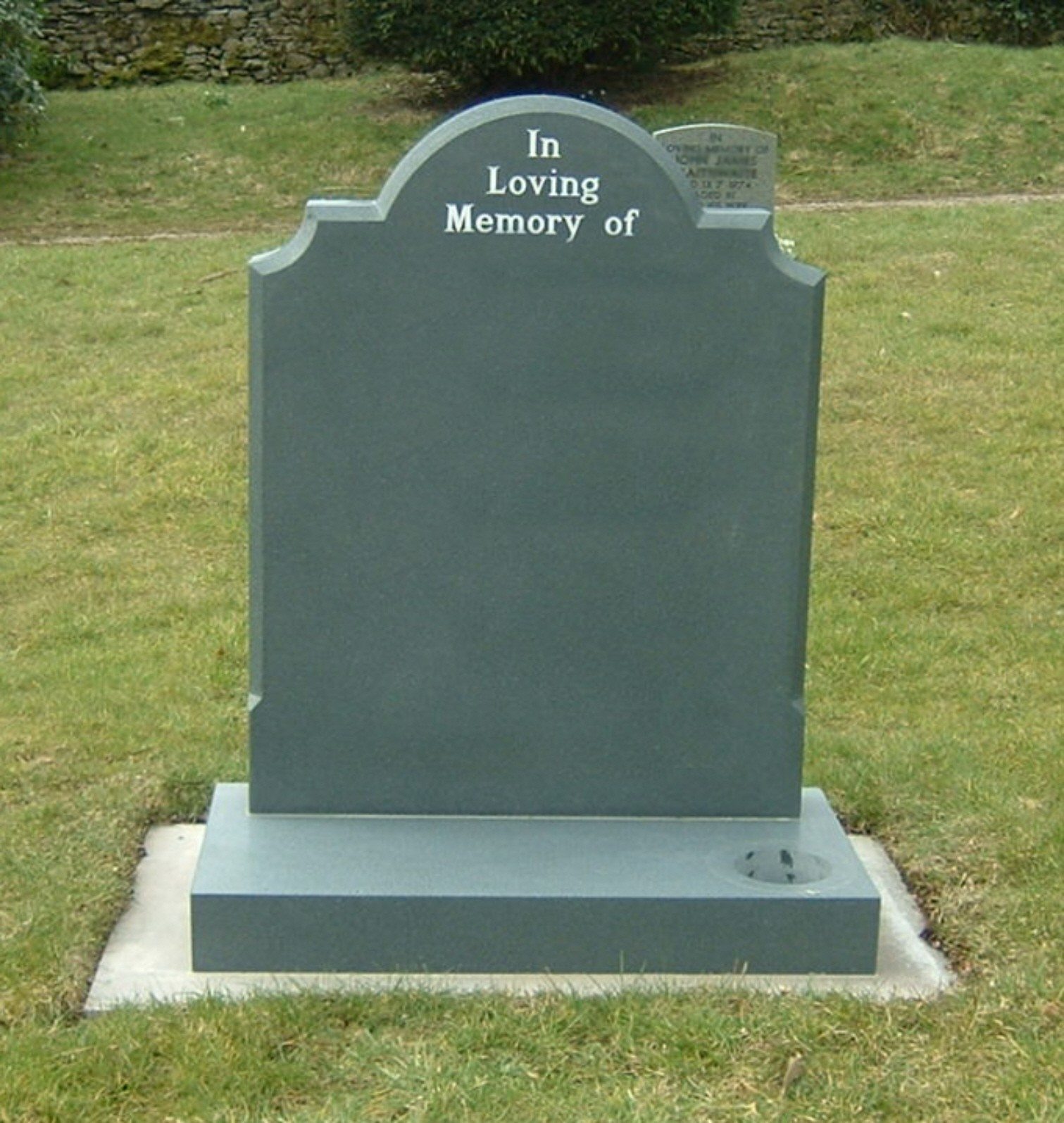 PJ03 - This Green Slate headstone with a neatly defined shape and letters set neatly in the top defines any inscription.  Slate Green, Bespoke, Headstones, Lawn Memorials