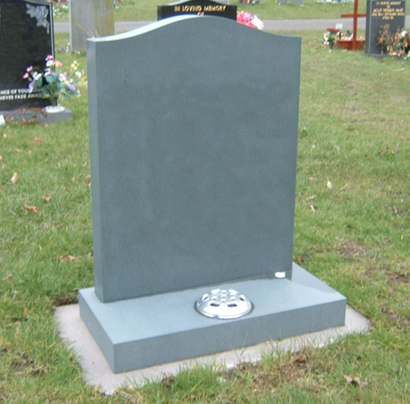 PJ20 - Ever green granite can be a more economical alternative to slate accepted in the Kendal diocese of Churchyard regulations.  Slate Green, Bespoke, Headstones, Lawn Memorials