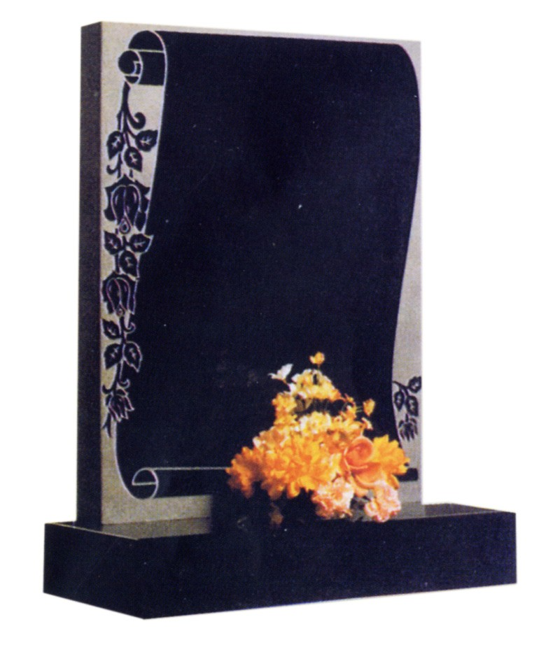 RL156G - Classic scroll design on a black granite square top and rose design. Lawn Memorial, Headstone