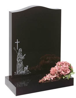 RL160G - The shepherd with his lambs contrasts well on both Black and Dark grey granites. Lawn Memorial, Headstone