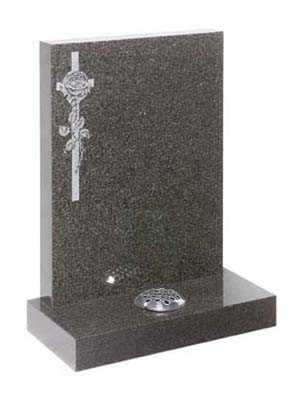 RL164G - A simple rose entwined in a cross on a dark grey square top memorial. Lawn Memorial, Headstone