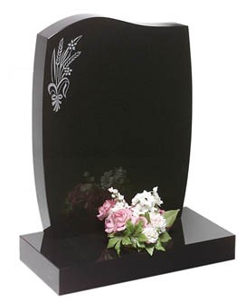 RL165G - This serpentine shape shown in black granite with a design of your choice. Lawn Memorial, Headstone
