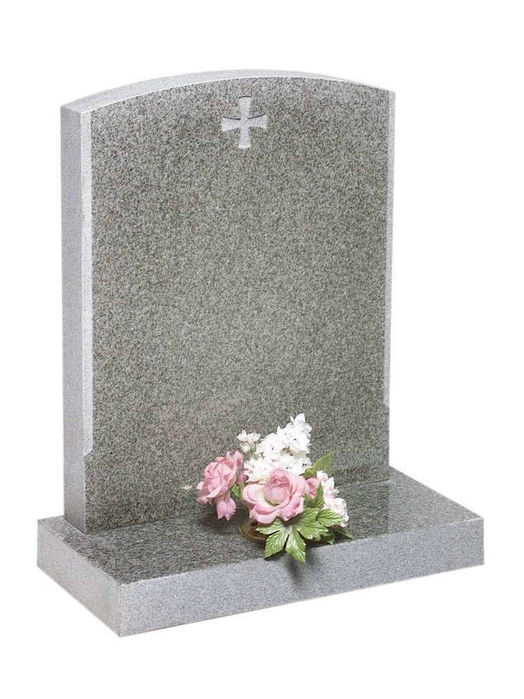 RL176G - RL176G - This camber top memorial with sanded edges looks good with or without the cross. Lawn Memorial, Headstone. Lawn Memorial, Headstone
