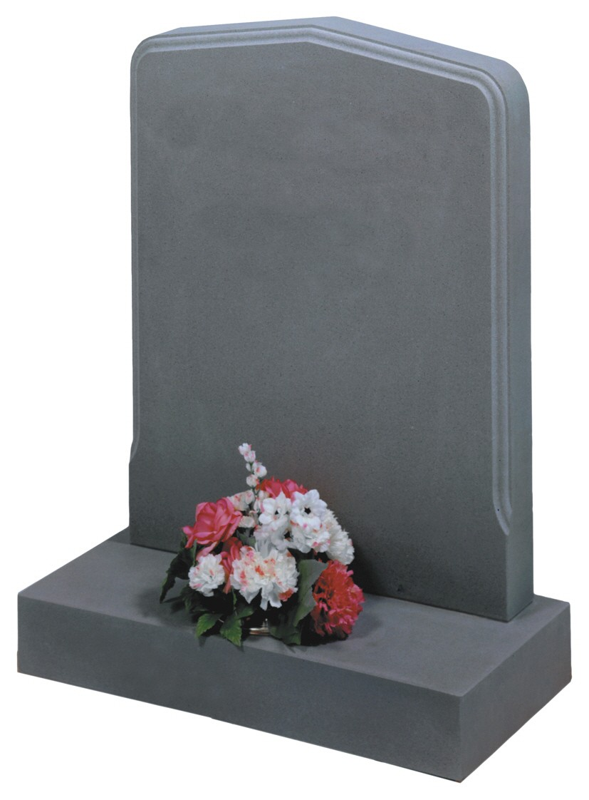 RL306 - This rounded peon with moulded edge shown here in Serena sandstone looks equally special in Dark grey granite Lawn Memorial, Headstone