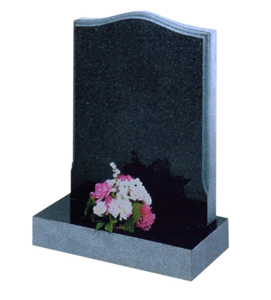 RL403 - The moulded edge and sanded sides contrasts the polished face on this Dark grey granite memorial. Lawn Memorial, Headstone