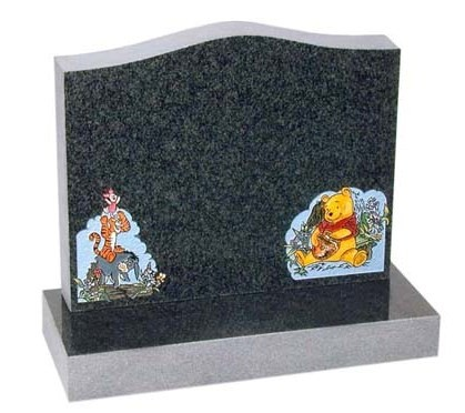 RL552 - Dark Grey Granite Lawn Memorial, Headstone.