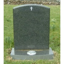 PJ11 - All polished dark grey granite camber top the chamfer defines the shape, shown here with a bow front on the base, with or without the enamelled cross. Lawn Memorial, Headstone
