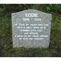 Eddie shaped memorial with engraved inscription
