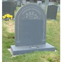 PJ09 - Lakeland blue slate with a hand carved design this time showing entwined ivy designed to your specification with our advice.  Bespoke Headstones, Lawn Memorials