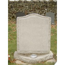 PJ19 - UK sourced Rustic limestone hand made in our workshop the shaped base compliments the curved top to the headstone.  Bespoke Headstones, Lawn Memorials