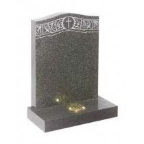 RL158G - A larger headstone to show this intricate design on Dark grey granite. Lawn Memorial, Headstone