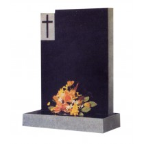 RL178G - This classic square top with check and cross design available in any stone type. Lawn Memorial, Headstone
