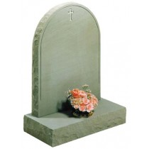 RL302 - A blasted line and classic cross on a Half Norman round top shown here with rustic edges special in any type of stone. Lawn Memorial, Headstone
