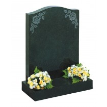 RL404 - Dark grey granite o-gee top with flower designs can be highlighted or painted. Lawn Memorial, Headstone