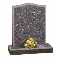 TM902 - Shown here with an ogee top with an ornate rope design on a blue pearl memorial available in all colours of granite. Lawn Memorial, Headstone