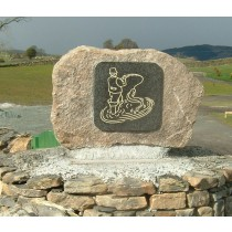 Shap granite boulder with an engraved Square Granite Fisherman insert.