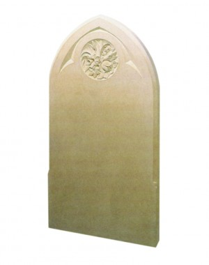 L81 - Gothic top memorial in York sand stone shown with a hand carved design . Lawn Memorial, Headstone