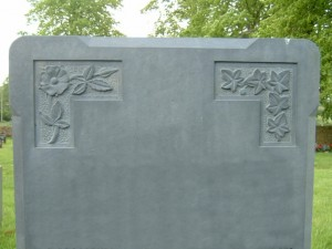PJ17 - Light and simple carvings can be put on your stone for an individual look.  Slate Green, Bespoke, Headstones, Lawn Memorials
