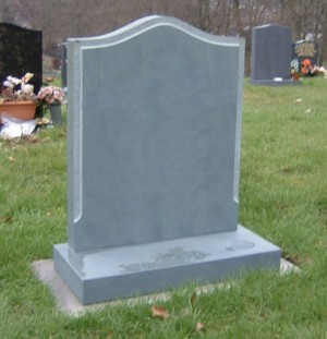 PJ18 - Slate o-gee shaped memorial with a tooled margin to frame any inscription.  Slate Green, Bespoke, Headstones, Lawn Memorials