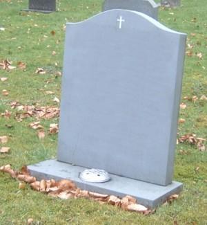 PJ24 - All honed Green slate headstone with a hand carved cross Enamelled white.  Slate Green, Bespoke, Headstones, Lawn Memorials