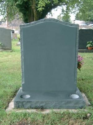 PJ35 - Evergreen rustic headstone with raised panel.  Slate Green, Bespoke, Headstones, Lawn Memorials
