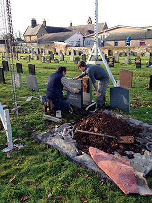 Installing headstone